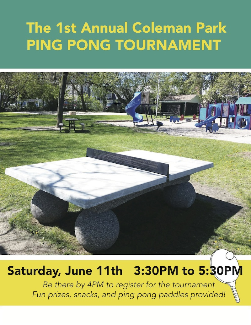Coleman Park Ping Pong Tournament Poster